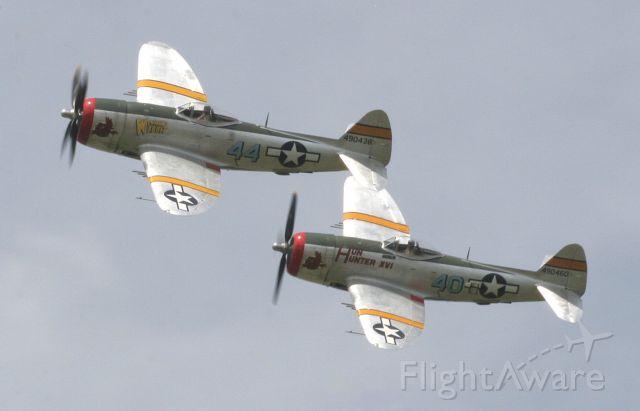 "REPUBLIC Thunderbolt — - P-47D, ""Hun Hunter IV"" and P-47D, ""Wicked Wabbit,"" Tennessee Air Museum, Gatlinburg, TNbr /Thunder Over Michigan Air Show, 2006"