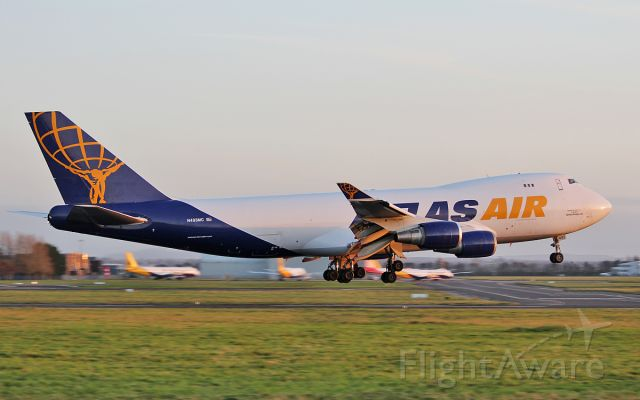 Boeing 747-400 (N493MC) - atlas air b747-47uf n493mc about to land at shannon from luxembourg this evening 17/10/17.