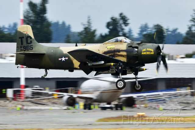 """Douglas AD Skyraider (NX965AD) - """"THE PROUD AMERICAN"""" Douglas A-1D Skyraider arriving at YXX on Aug 8, 2019 for the Abbotsford Airshow."""