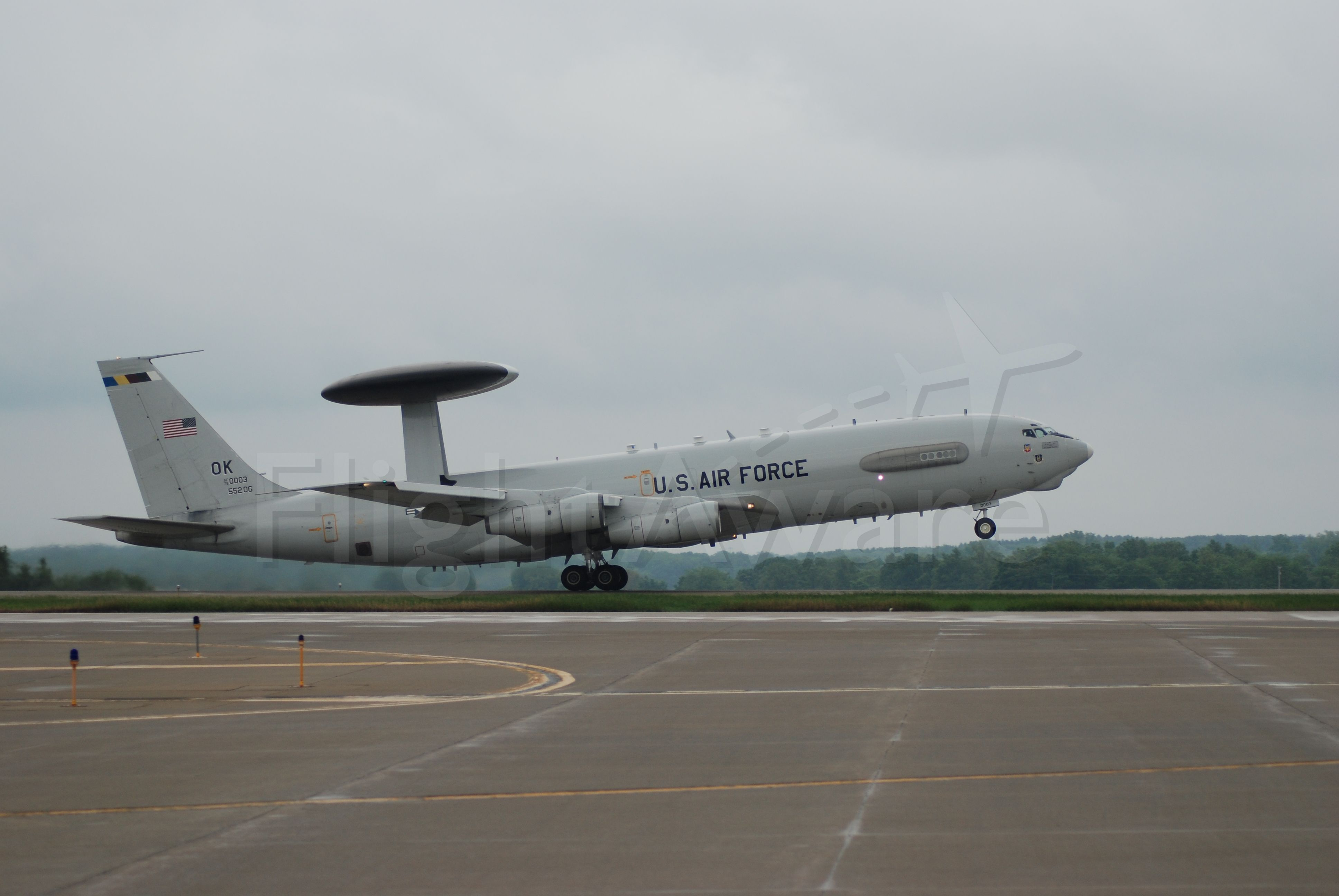— — - E-3, from Tinker AFB, Departing KRFD after Airfest 2008.