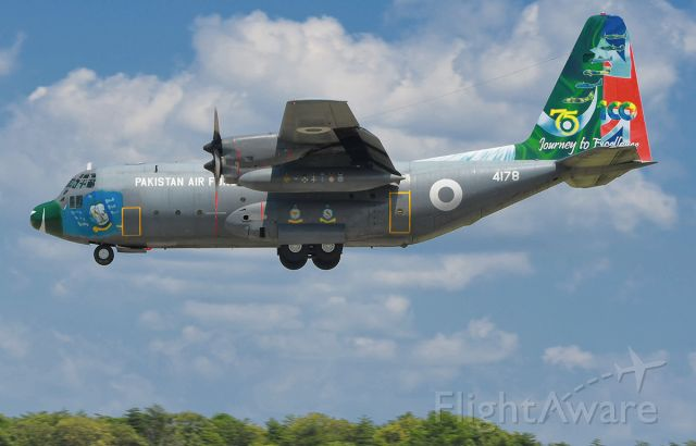 Lockheed C-130 Hercules — - Former Australian C-130E , now Pakistan A.F. 4178 on final to runway 33L at BWI Airport MD.