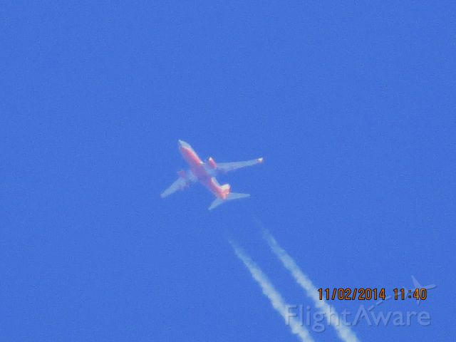 Boeing 737-700 (N436WN) - Southwest Airlines flight 662 from MDW to OKC over Baxter Springs Kansas (78KS) at 40,000 feet.