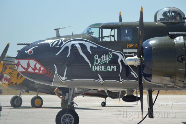 N5672V — - Nose Art of North American B-25J sitting on the tarmac KFSD