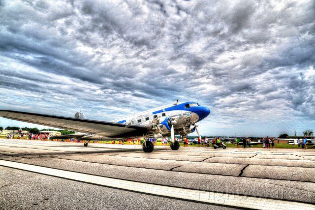 Douglas DC-3 (N28AA) - Lee Gilmer Memorial Field 50th annual Cracker Experimental Fly In  arrival of a Douglas DC-3.  HD enhanced photo