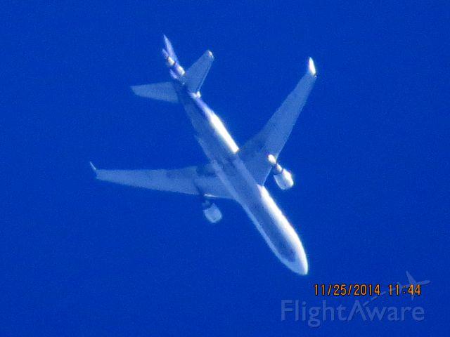 Boeing MD-11 (N573FE) - FedEx flight 408 from PDX to MEM over Baxter Springs Kansas (78KS) at 35,000 feet.