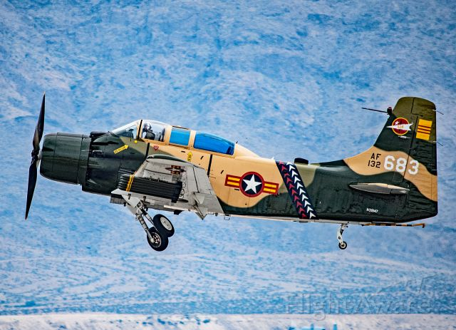 N39147 — - A-1E Skyraider performing at Aviation Nation Nellis AFB, NV.