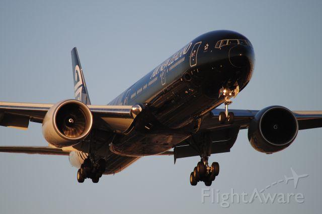 BOEING 777-300ER (ZK-OKQ) - The ALL BLACKS liveried jet arrives KLAX in evening light!