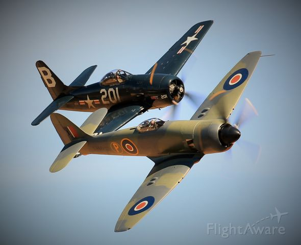 — — - Fury and Bearcat in close formation - Duxford meet the Fighters Sept 2016