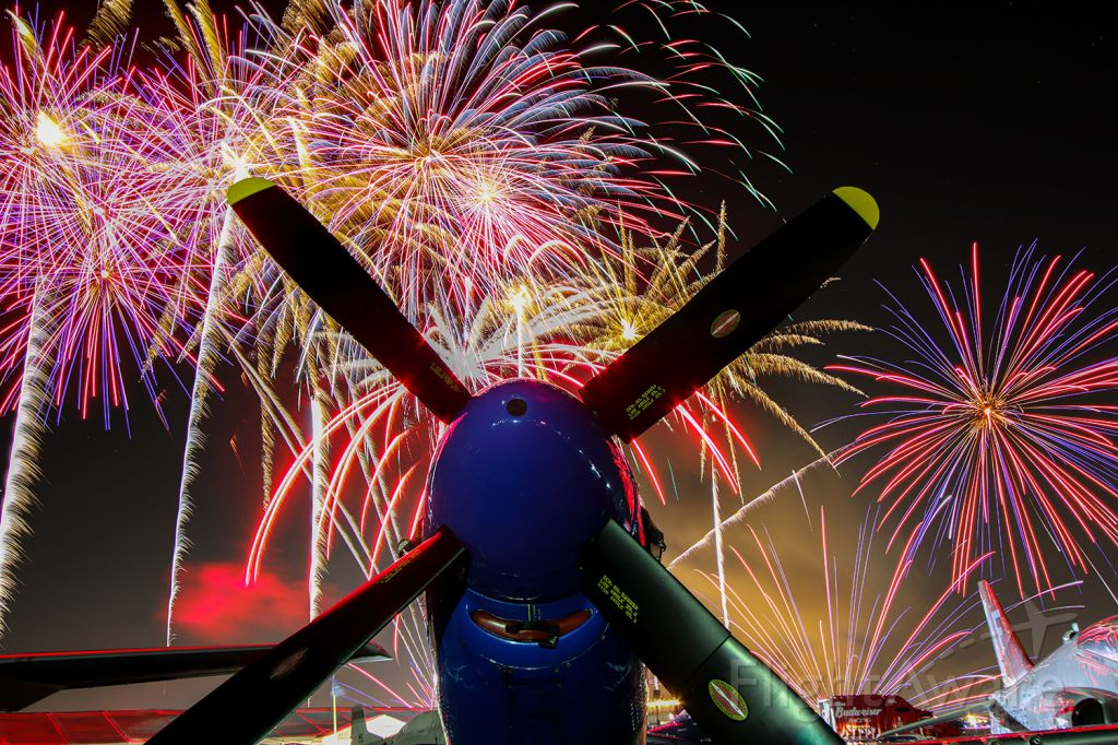 N51VL — - Fireworks display behind a P-51 Mustang at the 2021 Sun N Fun Aerospace Expo in Lakeland Florida.