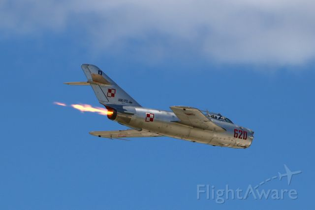 MIKOYAN MiG-17 (N620PF) - Afterburner on for Randy Ball in his MIG-17 at Thunder over Michigan 21 Aug 2016.