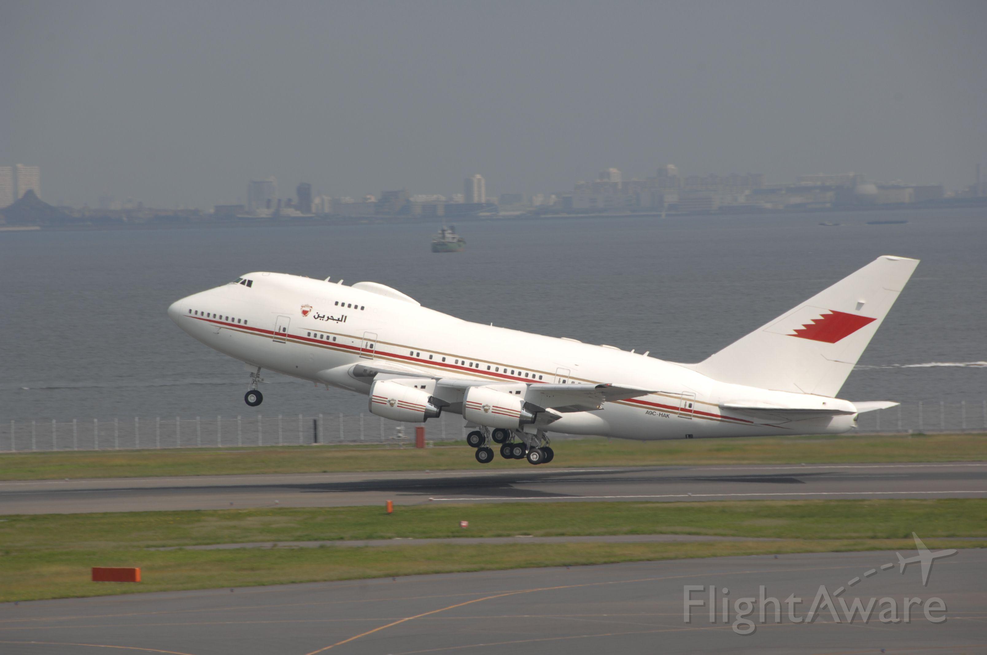 A9C-HAK — - Departure at Haneda Intl Airport R/W34R on 2008/10/13 Bahrain Royal Flight