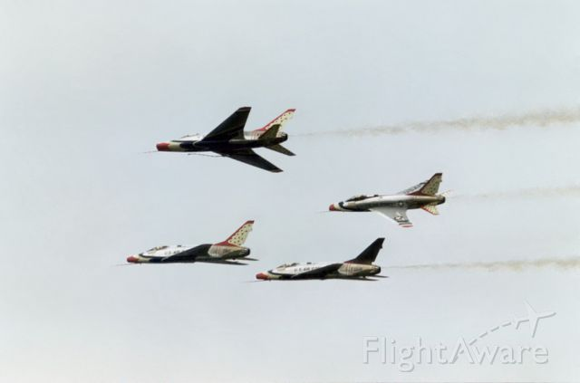 Fokker 100 — - North American F-100D. Thunderbirds preforming during a low altitude airshow, Otis AFB, Cape Cod, MA., Summer 1968