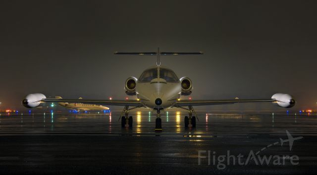 Learjet 25 (N4447P) - This photo significantly edited to remove background light & clutter, at the request of a Learjet fan.