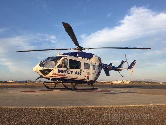 "KAWASAKI EC-145 (N145LF) - Mercy Air 19, flying for Rady Children's Hospital as the ""CHET Kid Copter""."