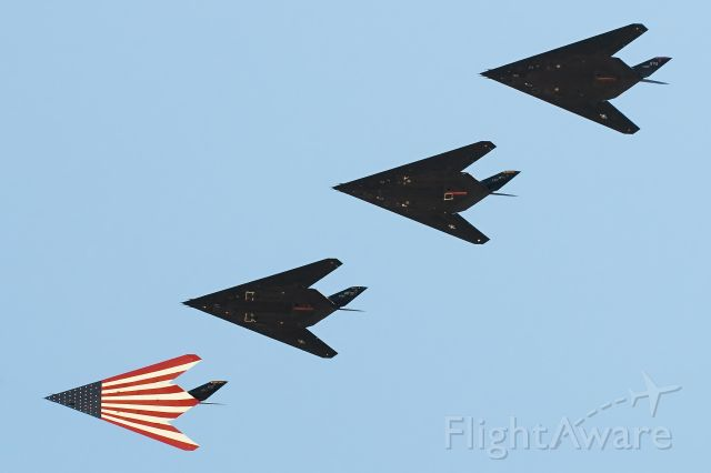 Lockheed Nighthawk — - Formation of F-117A Stealth Fighters ove USAF Plant 42/KPMD