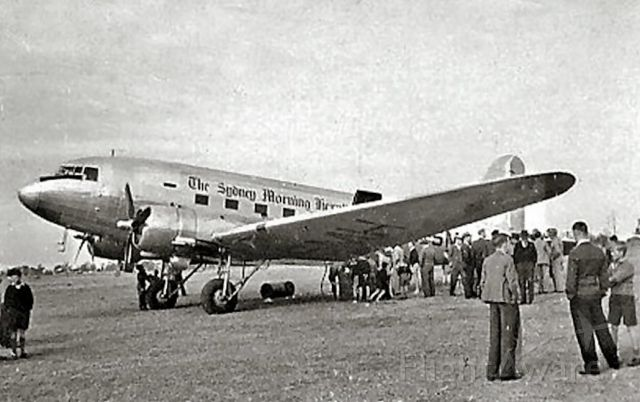 Douglas DC-3 (VH-SMH) - First arrival at casino for Sydney Morning Herald Newspaper DC3 delivery flight in 1948 - certainly a celebration at the time. Photo by Alan Shepard from Eddie Coates Collection