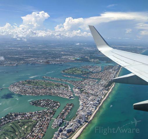 Boeing 737-800 (N867NN) - South Beach, FL after departing to LGA. May 11, 2019