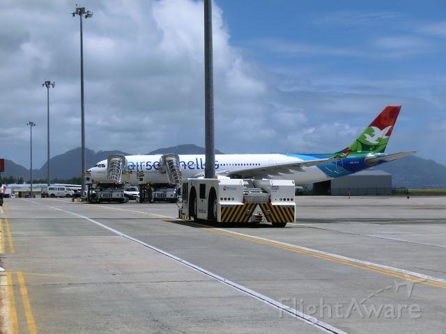 — — - Air Seychelles' 'Aldabra' an A330 sits at the Seychelles International Airport