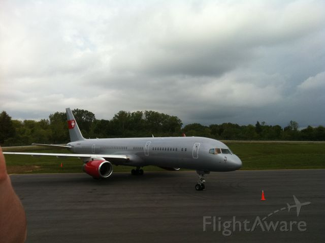 Boeing 757-200 (HB-IEE) - PrivatAir B757-200 sits on the Wilson Air Center CHA ramp on Sept 22-24, 2011