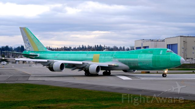 BOEING 747-8 (VQ-BIO) - BOE610 taxis onto Rwy 16R for a high speed taxi test on 2.14.20. (B747-8F / ln 1558 / cn 63784). The aircraft is using temporary reg #N6009F.
