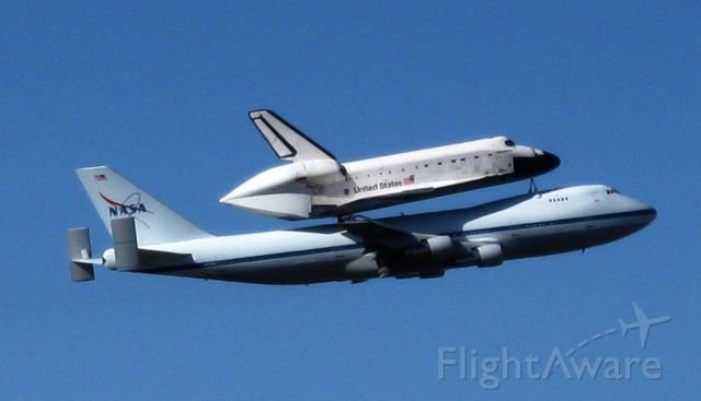 Boeing 747-200 (N911NA) - Space Shuttle Endeavor on the back of the 747, callsign NASA 911, taking off from NAS Fort Worth on December 11, 2008, on its way from California to Florida.