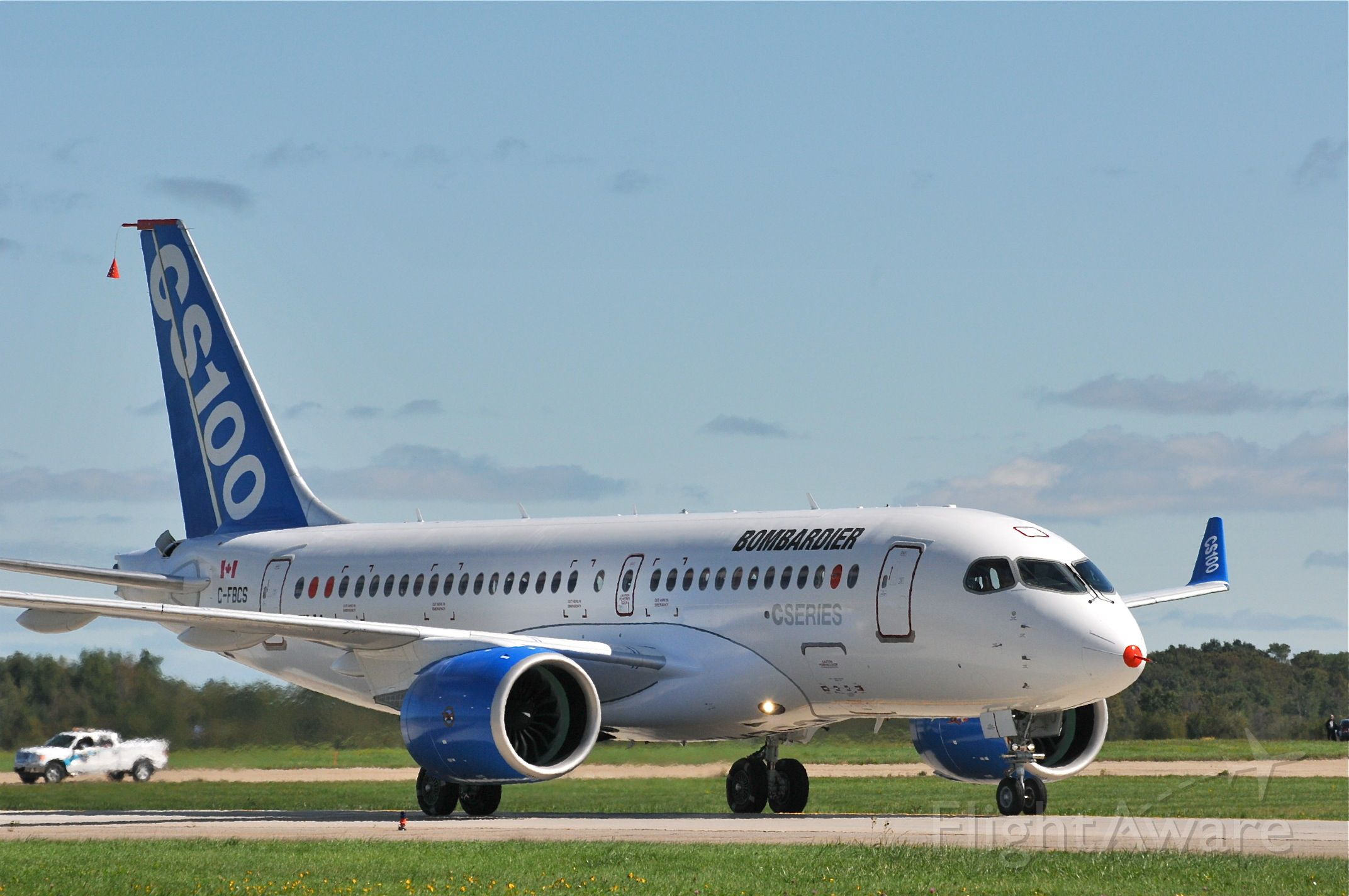 Bombardier CS100 (C-FBCS) - Taxiing just after its first flight
