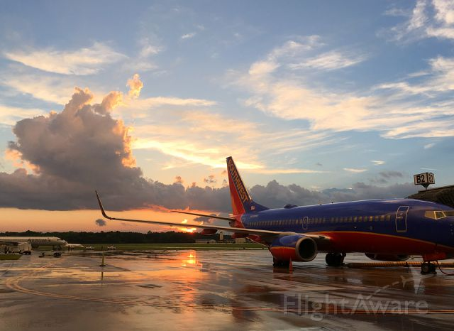 Boeing 737-800 (N488WN) - Southwest Airlines at sunset, Gate B2 Charleston Int