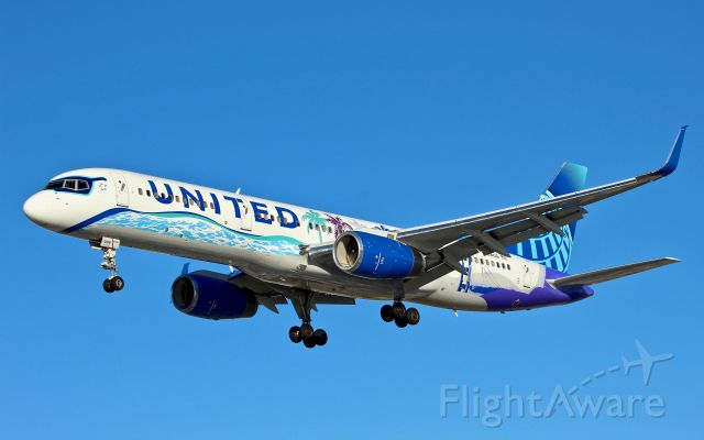 Boeing 757-200 (N14106) - United 757 with the Her Art Here California livery landing on runway 29 at Newark.