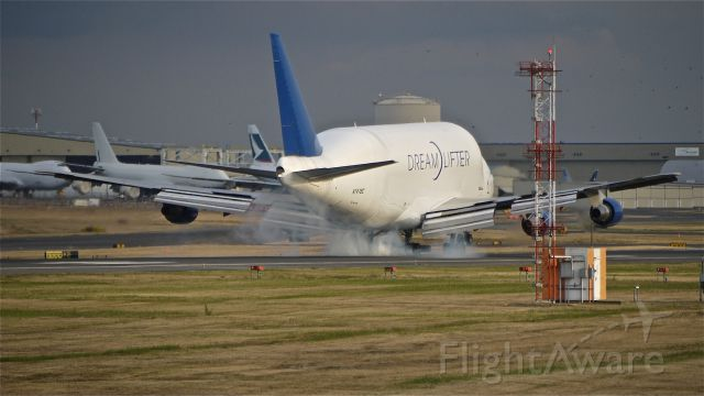 Boeing 747-400 (N747BC) - GTI4151 - B747-400 touches down on runway 16R on return from RJGG/NGO.  Photographed 9/14/11.