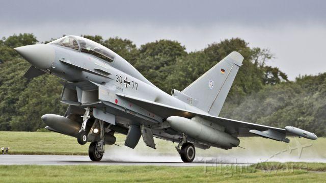 EUROFIGHTER Typhoon (GAF3077) - German Air Force Eurofighter EF-2000 Typhoon T (GAF3077) arrives for the RAF Scampton Air Show - 8th September 2017