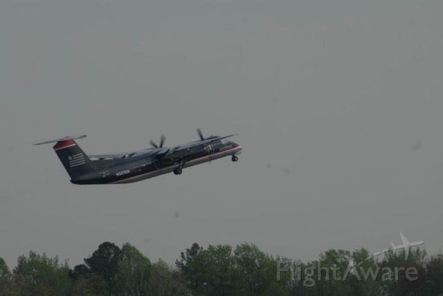N327EN — - Dash 8 300 Series a/c takingoff towards CLT.