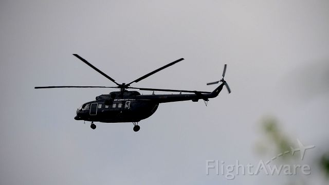 — — - Sri Lanka air force helicopter landing in police park, colombo