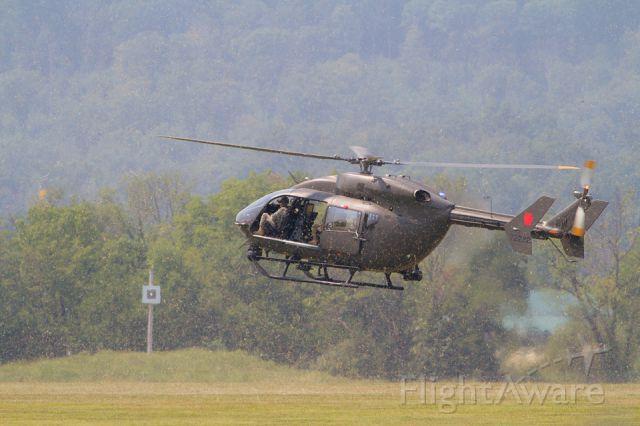 — — - A Eurocopter UH-72A Lakota trains at Fort Indiantown Gap, Pennsylvania.