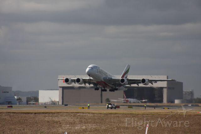Airbus A380-800 (A6-EEK) - EK 434 departing Brisbane International RWY01.