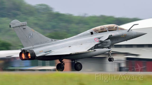 B319 — - French Air Force Dassault Rafale B takes off from runway 15 for home, following a successful LIMA 17 and displays for the French President and Malaysian Defence Minister in Kuala Lumpur. Malaysia is evaluating this aircraft as a replacement for its problematic MiG-29s.