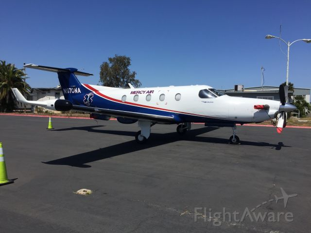 """Pilatus PC-12 (N970NA) - Air Methods operating as """"Mercy Air"""" for Rady Childrens Hospital of San Diego."""