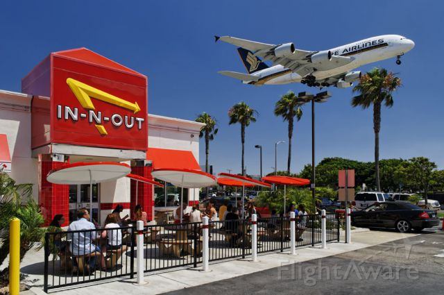 9V-SKD — - A Singapore Airlines Airbus A380 on final approach to the Los Angeles International Airport, LAX, Westchester, Los Angeles, California, as seen from the popular plane spotting eatery In-N-Out Burger on the corner of Sepulveda Boulevard and West 92nd Street