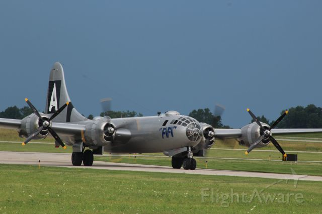 Boeing B-29 Superfortress (N529B) - FIFI beats a Wisconsin Thunderstorm to the Ramp at Appleton International during  EAA 2016.