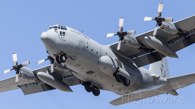 — — - USAF, C130H, on short finals to Townsville, RAAF Air Base.