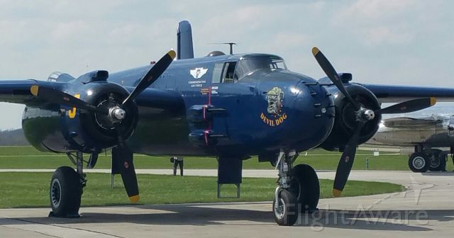 — — - B-25 Gathering at Grimes Field, Urbana, Ohio.