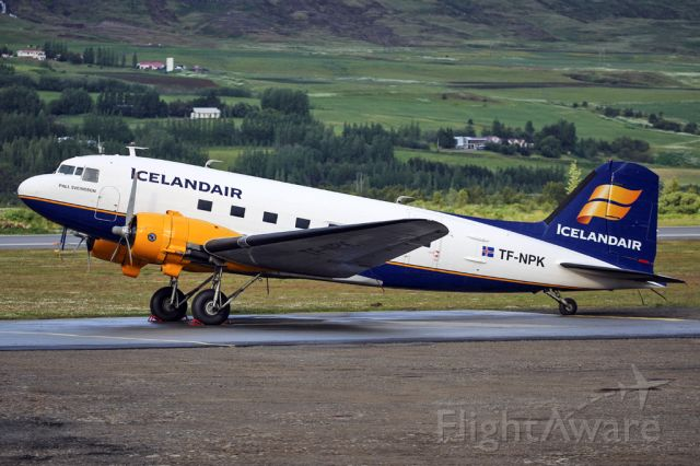 Douglas DC-3 (TF-NPK) - The Icelandair historical flight DC-3 parked outside the hangars at Akureyri