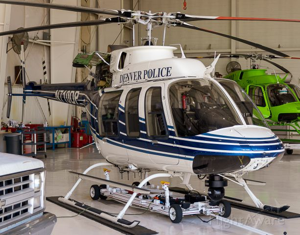 Bell 407 (N710DP) - Denver Police B407 in the hanger at KAPA. 7/13/18