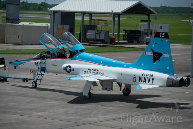 """Northrop T-38 Talon (61-4856) - The newly painted """"boss bird"""" for the Navy's Test Pilot School, is towed out for an engine run at Ellington Field on 25 June 2021"""