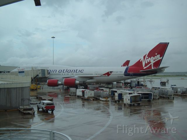 Boeing 747-400 (G-VLIP) - Virgin Atlantic 747 G-VLIP sits at the gate about 30 minutes after arriving from Manchester.