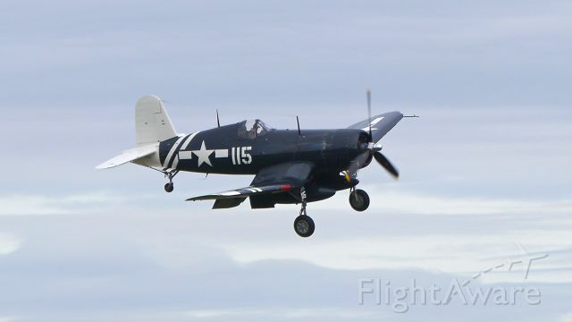 N72NW — - A FG1D Corsair (Ser#92436) on final to Rwy 16R on 2/24/16. The aircraft is owned by Olympic Flight Museum but is currently on loan to Historic Flight Foundation based at Paine Field.