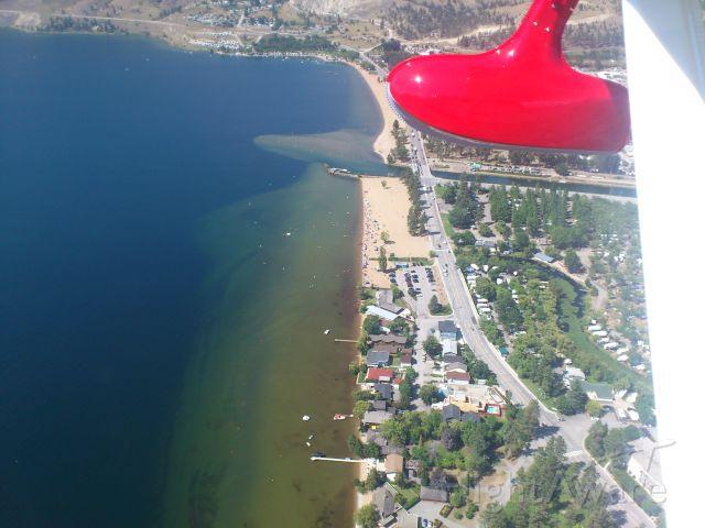 REPUBLIC Seabee (N64PN) - Downwind for 34, crossing south beach of Skaha Lake. Penticton Airport, Canada CYYF Aug 2013. Republic R-34 Seabee