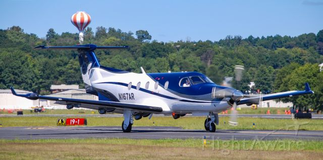 Pilatus PC-12 (N167AR) - A beautiful PC-12 about to take of on a clear September afternoon.  11/19/20.