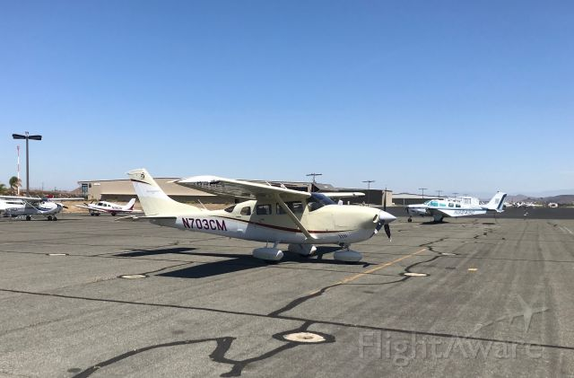 Cessna 206 Stationair (N703CM) - Cessna 206 sitting on the ramp at French Valley