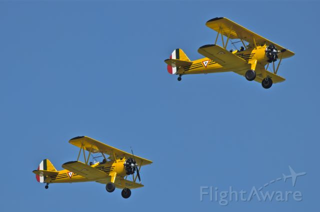 Boeing PT-17 Kaydet (FAM6078) - Airshow over Santa Lucia Air Base. A pair of Boeing PT-17 Kaydet. FAM 6078 and FAM6098 make a fly pass.