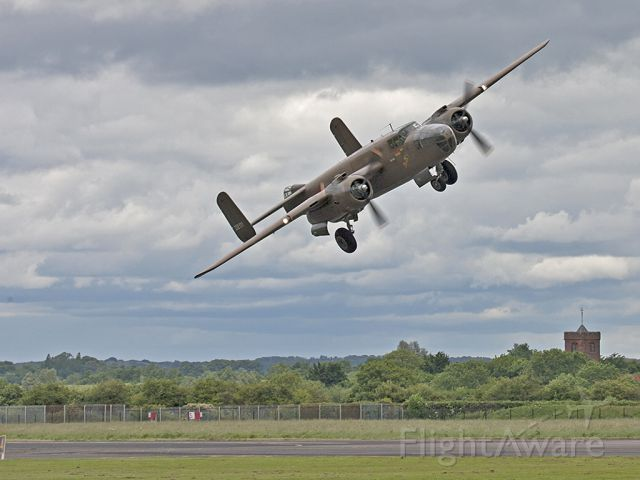 N320SQ — - North American B-25 Mitchell, N320SQ, Duke of Brabant Air Force taking of from the Air Britain Fly-In at North Weald